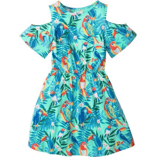 2f0c0a4125 Sukienka z wycięciami na ramionach bonprix miętowy z nadrukiem ...
