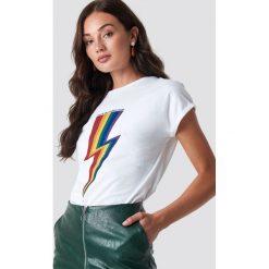 Rut&Circle T-shirt Rainbow Flash - White. Białe t-shirty damskie Rut&Circle, z materiału, z okrągłym kołnierzem. Za 104.95 zł.