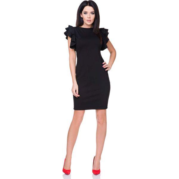 dd98ebb4f6 Sukienka Ołówkowa Mała Czarna Z Falbankami Na Ramionach Sukienki