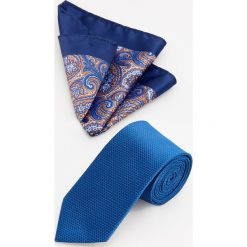 Krawat i poszetka - Granatowy. Niebieskie krawaty i muchy Reserved. Za 59.99 zł.