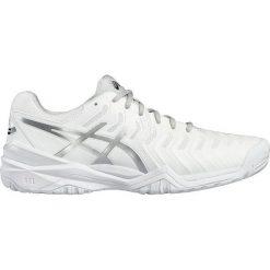 ASICS GELRESOLUTION 7 Obuwie multicourt white/silver. Buty sportowe męskie Asics, z materiału, outdoorowe. W wyprzedaży za 463.20 zł.