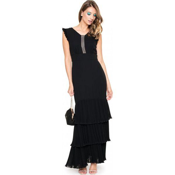 f2bf4d31 Sukienka maxi z plisowanymi zdobieniami L'AF MELISA