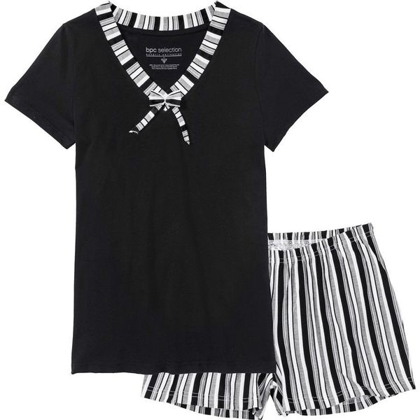 3a1b366be38d65 Piżama z krótkimi spodenkami bonprix czarno-biały w paski - Białe ...