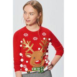 Świąteczny sweter z reniferem - Czerwony. Swetry damskie marki bonprix. W wyprzedaży za 59.99 zł.