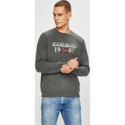 Napapijri - Bluza. Szare bluzy męskie Napapijri, z nadrukiem, z bawełny. W wyprzedaży za 299.90 zł.