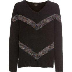 Sweter z połyskującymi paskami bonprix czarny + w paski. Czarne swetry damskie bonprix, z dekoltem w serek. Za 99.99 zł.