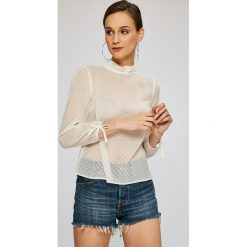 Tommy Jeans - Bluzka. Szare bluzki damskie Tommy Jeans, z jeansu, casualowe, ze stójką. W wyprzedaży za 239.90 zł.