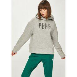 Pepe Jeans - Bluza. Szare bluzy damskie Pepe Jeans, z aplikacjami, z bawełny. Za 299.90 zł.