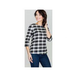 Bluzka K261 Czarny-Biały. Czarne bluzki damskie Lenitif, w kratkę, z tkaniny, z dekoltem na plecach. Za 89.00 zł.
