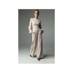 Spodnie Line - Nude. Brązowe spodnie materiałowe damskie Madnezz, z aplikacjami, z bawełny. Za 229.00 zł.
