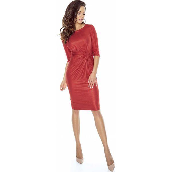 5556092eb7 Czerwona Sukienka Błyszcząca Dopasowana Midi z Ozdobnym Węzłem ...