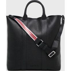 Calvin Klein - Torebka. Czarne torby na ramię damskie Calvin Klein, w paski, z materiału. Za 699.90 zł.