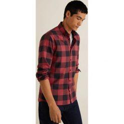 Mango Man - Koszula Claude. Brązowe koszule męskie Mango Man, w kratkę, z bawełny, button down, z długim rękawem. W wyprzedaży za 89.90 zł.
