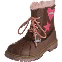 Skórzane botki w kolorze brązowo-jasnoróżowym. Botki dziewczęce Zimowe obuwie dla dzieci. W wyprzedaży za 167.95 zł.