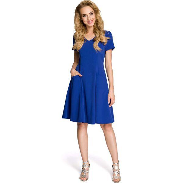 d6ec428801 Rozkloszowana Chabrowa Sukienka z Cięciami Modelującymi - Sukienki ...