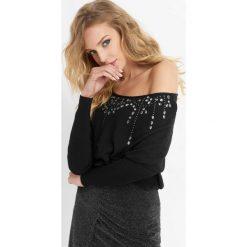 Luźny sweter z kryształkami. Czarne swetry damskie Orsay, z dzianiny. Za 99.99 zł.