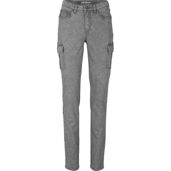 Spodnie bojówki z efektem wytarcia bonprix dymny szary