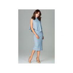 Sukienka K480 Niebieski. Niebieskie sukienki damskie Lenitif, z dekoltem na plecach. Za 179.00 zł.