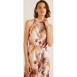 Mango - Sukienka Vintage1. Różowe sukienki damskie Mango, z tkaniny, casualowe, z dekoltem halter. Za 199.90 zł.
