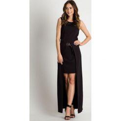 Czarna sukienka z zapinaną na pasek długą spódnicą BIALCON. Czarne sukienki damskie BIALCON, w paski, wizytowe, z długim rękawem. W wyprzedaży za 178.00 zł.