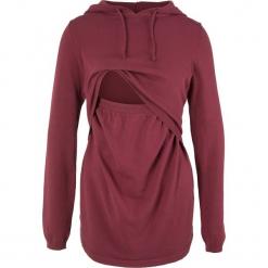 Sweter ciążowy i do karmienia, z kapturem bonprix bordowy. Czerwone swetry damskie bonprix, z kapturem. Za 89.99 zł.