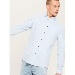 Koszula z domieszką lnu - Niebieski. Niebieskie koszule męskie House. Za 89.99 zł.