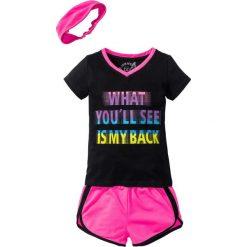 Shirt + szorty + bandana (3 części) bonprix czarno-różowy neonowy. Spodenki dla dziewczynek bonprix, w paski, sportowe. Za 59.99 zł.