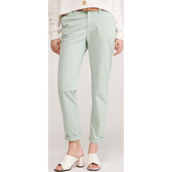 Spodnie chino z paskiem Zielony