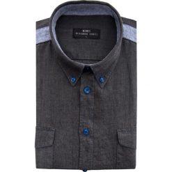 Koszula MATTEO 15-03-25. Czarne koszule męskie Giacomo Conti, na lato, w kolorowe wzory, button down, z krótkim rękawem. Za 169.00 zł.