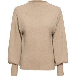 Sweter dzianinowy z balonowymi rękawami bonprix beżowy melanż. Swetry damskie marki bonprix. Za 74.99 zł.