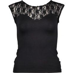 Koszulka w kolorze czarnym. T-shirty damskie Kalimo, w koronkowe wzory, z koronki, z okrągłym kołnierzem, z krótkim rękawem. W wyprzedaży za 87.95 zł.