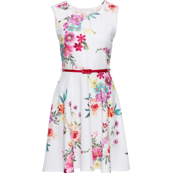 7c3770822c Sukienka z dżerseju w kwiaty bonprix biel wełny w kwiaty - Sukienki ...