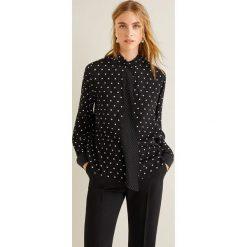 Mango - Koszula Tie. Czarne koszule damskie Mango, z aplikacjami, z materiału, klasyczne, z klasycznym kołnierzykiem, z długim rękawem. Za 139.90 zł.
