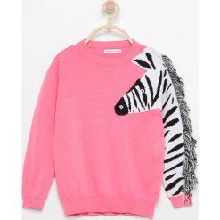 Sweter z zebrą - Różowy. Swetry dla dziewczynek Reserved. W wyprzedaży za 29.99 zł.