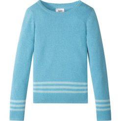 Sweter dzianinowy bonprix turkusowy. Swetry dla dziewczynek bonprix, na lato, z bawełny, z okrągłym kołnierzem. Za 21.99 zł.