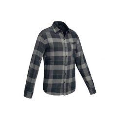 Koszula trekkingowa TRAVEL 100 męska. Szare koszule męskie QUECHUA, z długim rękawem. Za 79.99 zł.