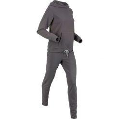 Bluza z kapturem z polaru + spodnie z polaru (kompl. 2-częściowy) bonprix szary. Szare bluzy damskie bonprix, z polaru. Za 129.99 zł.