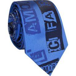 Krawat jedwabny KWNR009004. Niebieskie krawaty i muchy Giacomo Conti, z nadrukiem, z jedwabiu. Za 169.00 zł.