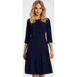 Sukienka z kontrafałdą moe336. Niebieskie sukienki dla dziewczynek MOE, eleganckie, z krótkim rękawem. Za 159.90 zł.