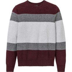 Sweter z bawełny z recylingu bonprix szaro-bordowy. Szare swetry przez głowę męskie bonprix, z bawełny, z okrągłym kołnierzem. Za 74.99 zł.