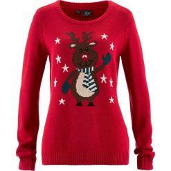 Sweter z okrągłym dekoltem bonprix czerwony. Swetry damskie marki KALENJI. Za 74.99 zł.
