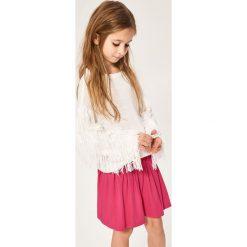 Sweter z frędzlami na rękawach - Biały. Swetry dla dziewczynek Reserved. W wyprzedaży za 19.99 zł.