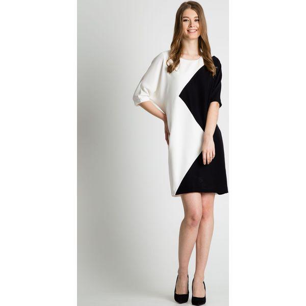 755edc2619 Czarno-biała sukienka z krótkim rękawem BIALCON - Białe sukienki ...