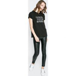 Answear - Top. Czarne topy damskie ANSWEAR, z krótkim rękawem. W wyprzedaży za 34.90 zł.