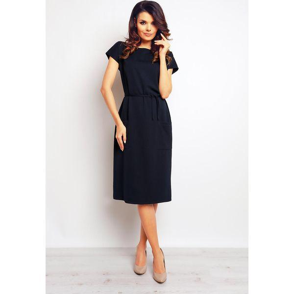 af127131fa Granatowa Casualowa Sukienka z Kieszeniami i Wiązaniem - Sukienki ...