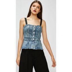 Guess Jeans - Top. Szare topy damskie Guess Jeans, z bawełny, bez rękawów. Za 369.90 zł.