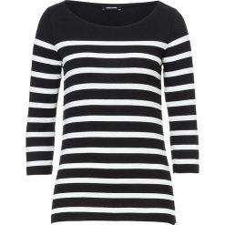 Koszulka w kolorze czarno-białym. T-shirty damskie More & More, w paski, z dekoltem w łódkę, z długim rękawem. W wyprzedaży za 43.95 zł.