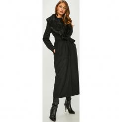 Answear - Płaszcz. Czarne płaszcze damskie ANSWEAR, w paski, z materiału, klasyczne. Za 299.90 zł.