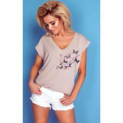 Bluzka t-shirt motylki k170. Niebieskie bluzki damskie Knitis, z dzianiny, z klasycznym kołnierzykiem. W wyprzedaży za 44.00 zł.