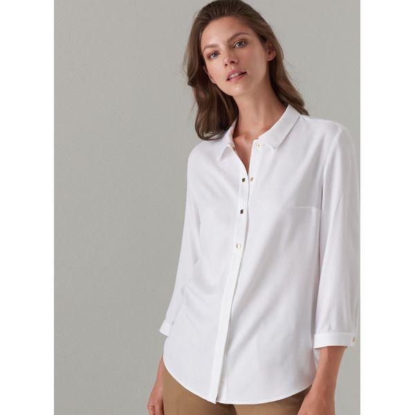 08f79c6af Koszula z ozdobnym zapięciem - Biały - Koszule damskie marki Mohito ...